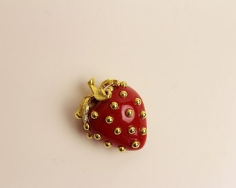 Kenneth Jay Lane Red  Strawberry Brooch/ Pin