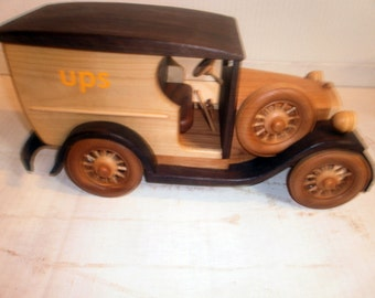 Wooden original UPS truck handcrafted
