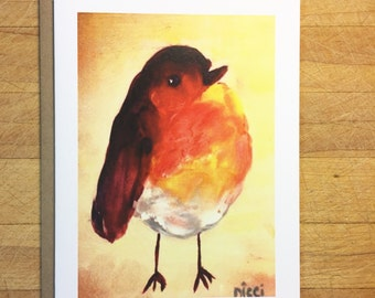 Orange bird note card