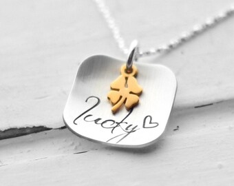 Four Leaf Clover Lucky Necklace, Gold Shamrock Charm, Hand Stamped Sterling Silver Square, St. Patrick's Day, Irish, Heart, Festive