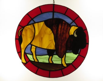 Stained Glass Bison Suncatcher
