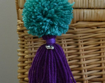 Turquoise and Purple Pom Pom & Tassel Clip-on with Cat Charm -  Keychain, Beach Bag or Backpack Flair Clip