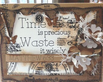 Greeting Card with Meaningful Quote and Bible Verse/Three-Dimensional Shabby Chic Vintage-Style Greeting Card