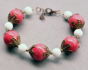 Beaded Pink Bracelet, Valentine Gift for Her for Women, Jewelry Gift for Wife, Statement Bracelet Jewelry, Chunky Beaded Boho Bracelet,