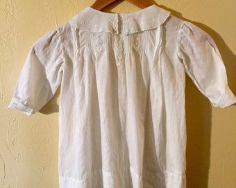 Antique White Cotton Baby Dress with Lace Collar, Cuffs and Bodice