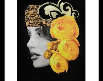 DIGITAL PRINT 5x7, black & white fashion portrait, magazine cut-outs, floral, glamorous, colourful, patterned card 'Coco'