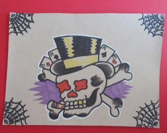 VINTAGE SKULL TATTOO flash, hat,vintage tattoo flash,poker,american tattoo,sailor art,hot rod,rockabilly,flash art, americana,skull