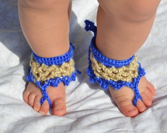 Sandals, Mommy&Me Dual Color Anklet Style Barefoot Sandals, Barefoot Baby Sandals, Barefoot Sandals, Crochet Sandals