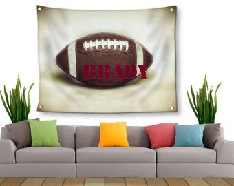Football Tapestry-Tapestry with Grommets-Custom Wall Decor-Fabric Wall Hanging-Football Wall Decor-Custom Sports Decor-Outdoor Tapestry