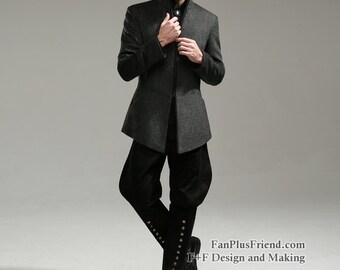 Gothic Dandy Neat Tweed Doublet Coat For Man