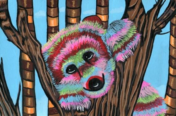 pinata bear original art painting animals colorful nature wildlife art painting kids room nursery wall art small painting