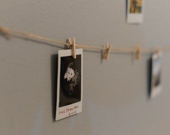 Clothes Pin Picture Hanger with Mini Clothespin and Burlap