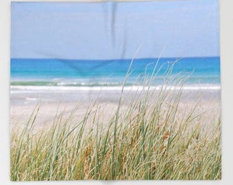 Sea grasses photo blanket, beach scene blanket, beach theme bedroom accessory, ocean throw blanket, cozy winter blanket, beach cottage decor