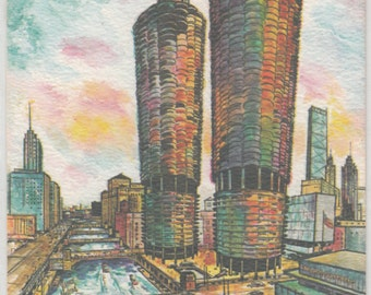 1960s James Axelrod Watercolorist Chicago's Marina Towers Postcard,Texture Like Brush Stroke,Unused,Beautiful Color