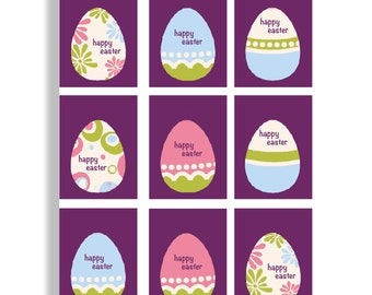 DOWNLOAD - PRINTABLE - Easter Eggs - place seating cards, tags, stickers