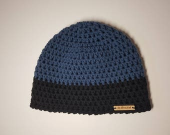Blue black hat, Crochet toque, crochet hat, Blue crochet beanie, crocheted hat, hand crochet beanie, Cotton hat, blue hat, alicegemhandmade