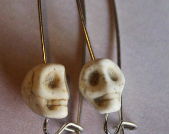 Multi Colored Skull Resin Bead Silver Toned Elongated 1 and half Inch Earrings