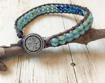 Sky Blue and Cobalt Beaded Wrap Bracelet