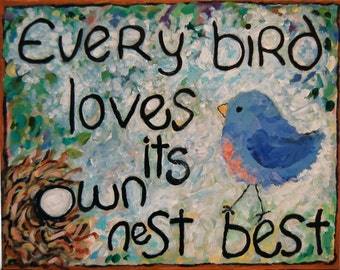 bird nest whimsical art quote CANVAS or PAPER giclee print Peggy Johnson