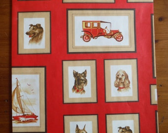 Vintage Mens Wrapping Paper - Vintage Guys Boys Dogs Men Gift Wrap - 1960's Boys Gift Wrap Paper - Vintage 1960's Cars Boars Wrapping Paper