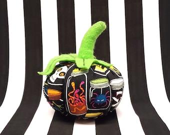Small Gothic Halloween Specimen Jars Pumpkin Plushie Pin Cushion