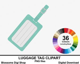 Luggage tag clipart, suitcase label, luggage label, label clipart, holiday clipart, holiday label, sticker elements, commercial clipart