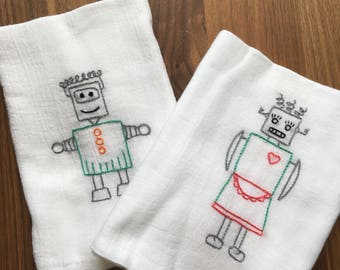 Out of this World Hand Embroidered Dish Towels