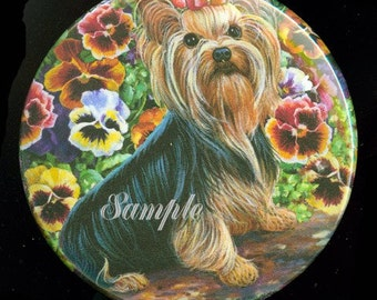 Mirror for Pocket or Purse Yorkshire Terrier Yorkie with Pansies 2 sizes available