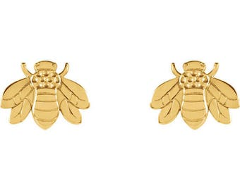 Any Color 14K Gold Bumblebee Stud Earrings