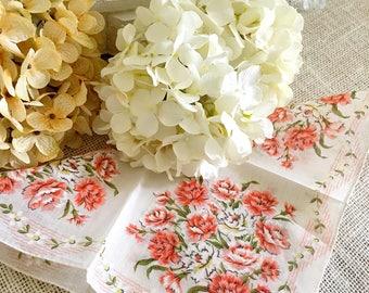 """Vintage Ladies Handkerchief, Wedding Hankie, Rolled Hem, Peach Carnations, Floral, Bride, Bridesmaid Hanky, 12+"""""""