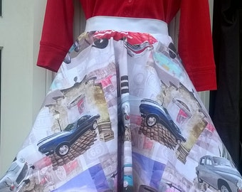 1950s/60s inspired full circle skirt. Vintage car design