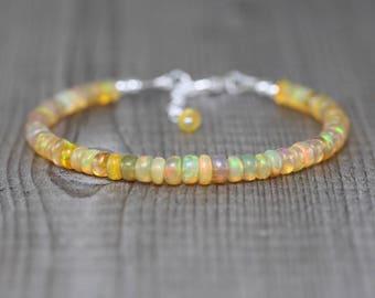 Ethiopian Welo Opal Bracelet in Sterling Silver, Rose or Yellow Gold Filled. Flashy AAAA Gemstone Beaded Bracelet. Stacking Layering Jewelry