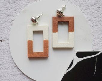Wooden colourblock earrings | statement earrings | retro rectangle earrings