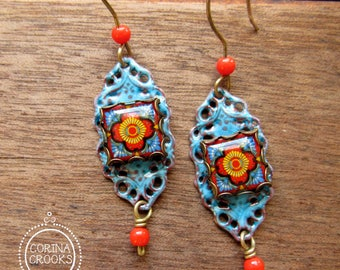 Mexican Filigree Earrings, Mexican jewelry, Mexican pottery pattern, enamel earrings, Folk art earrings, Statement earrings, tile earrings