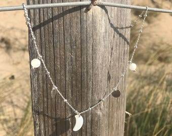 Brown silver and mother of Pearl Necklace