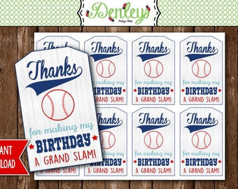 INSTANT DOWNLOAD: Baseball Party Thank You Tags, Baseball Party Favor Tags