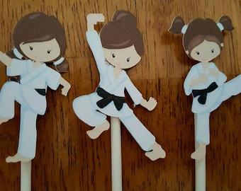 Karate girls cupcake toppers -set of 12, karate cake toppers, karate centerpiece