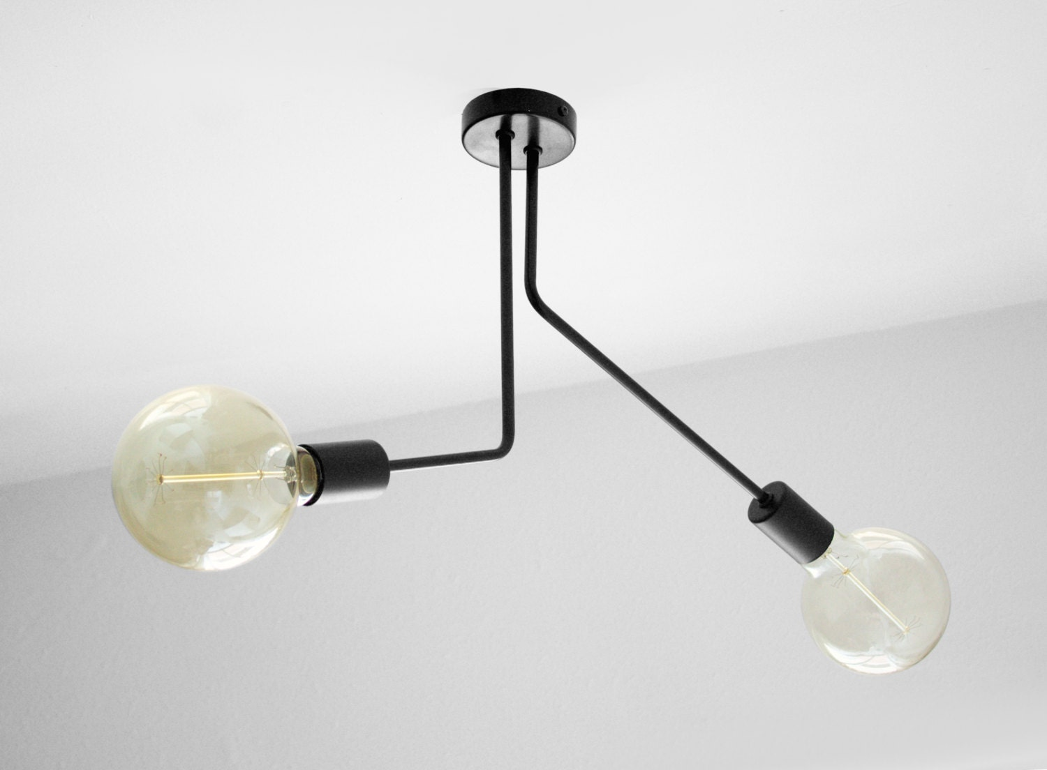 Black Geometric Ceiling Light 2 Arms Ceiling Semi Flush