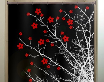 extra brown and red shower curtain. floral branch flower tree cherry blossoms shower curtain  extra long fabric window panel kids sunset sky life