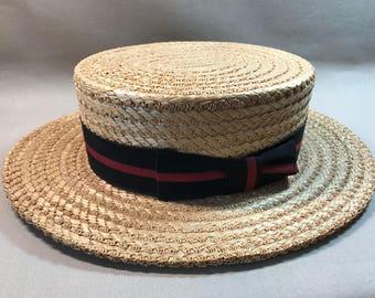 Adam Straw Boater Hat Beautiful Condition