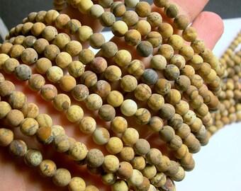 Picture Jasper matte - 6 mm round beads -  1 full strand - 64 beads - WHOLESALE - RFG586