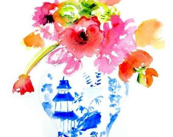 Ginger Jar Print, Floral, Peonies, Tulips, Blue and White Vase, Fine Art Print, Still Life, Home Decor, Floral Decor