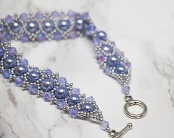 Blue Pearl and Violet Swarovski  Bracelet