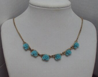 Elegant Mid Century Blue Celluloid Roses Gold Tone Chain Necklace Robins Egg Blue Teal