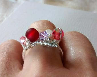Handcrafted ** Sterling Silver-Wire Wrapped-Valentine's Ring