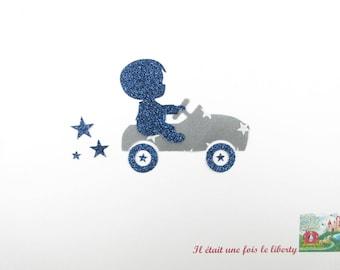 Applied shape in your little boy & car grey stars + glitter flex patch iron on applique car coat seamless