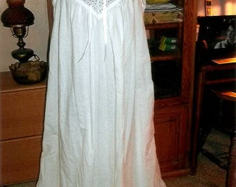 Custom made Plus Size Victorian style sleeveless cotton nightgown with eyelet bodice and cotton lace