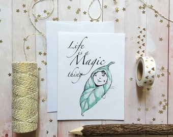 Baby card, Baby Fairy card, baby shower card, congratulations baby card, new life card, new mom card, new parent card
