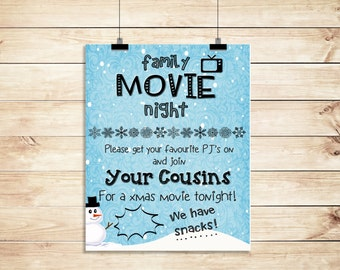 Family Christmas Snowy Movie Night From Cousins Poster PRINTABLE A3