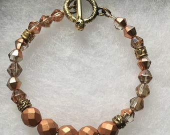 Rose and Gold Glam Beaded Bracelet